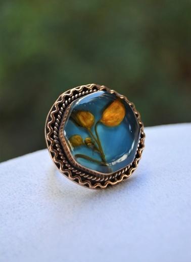 Stoneage Ebru Tasarım Ayarlanabilir Bayan Yüzük Mavi